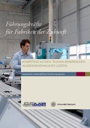 Führungskräfte für Fabriken der Zukunft - GSaME - Universität Stuttgart