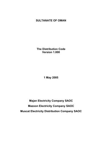 Distribution Code - authority for electricity regulation, oman