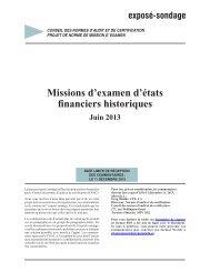 Exposé-sondage – Missions d'examen d'états financiers historiques