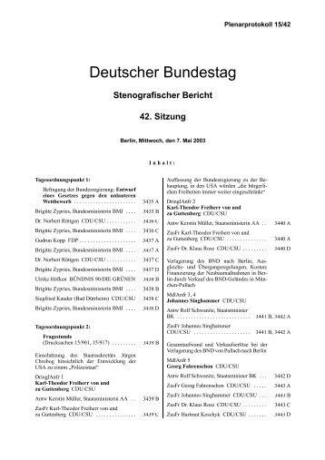 Stenografischer Bericht 42. Sitzung - Deutscher Bundestag