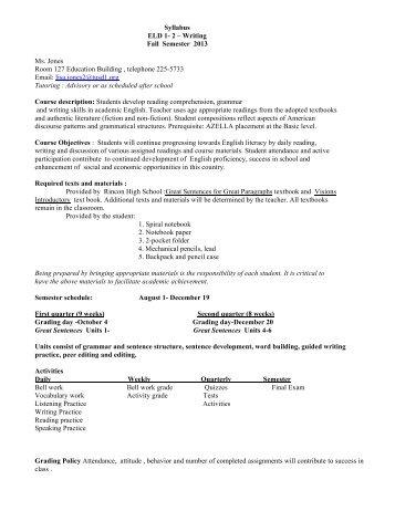 Syllabus ELD 1- 2 – Writing Fall Semester 2013 Ms. Jones Room ...
