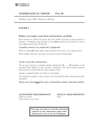 MATHEMATICAL TRIPOS Part IB PAPER 1 Before you begin read ...