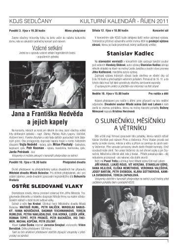 říjen - Kulturní dům Josefa Suka - Sedlčany