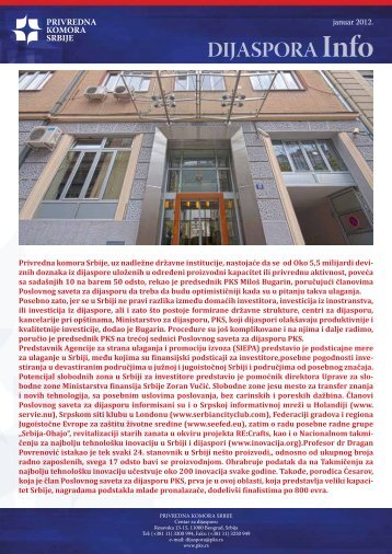 Dijaspora info januar 2012 - Privredna komora Srbije