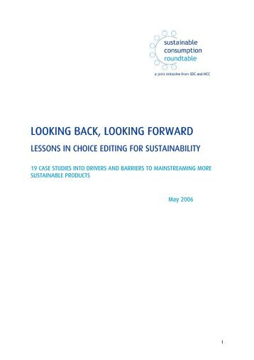 looking back, looking forward - Sustainable Development Commission