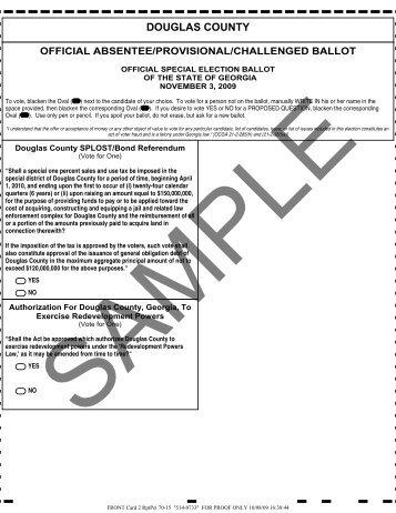 November 3, 2009 Election - Sample Ballot - Douglas County, Georgia