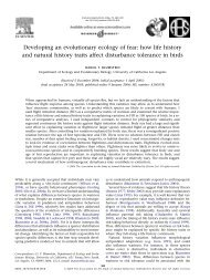 Developing an evolutionary ecology of fear - HomePage Server for ...