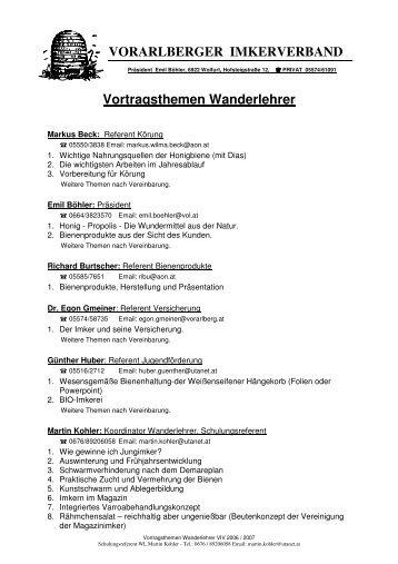 VORARLBERGER IMKERVERBAND Vortragsthemen Wanderlehrer