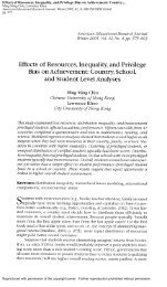 Effects of Resources, Inequality, and Privilege Bias on Achievement ...