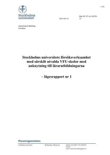 Stockholms universitets försöksverksamhet med särskilt utvalda VFU ...