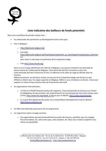 Liste indicative des bailleurs de fonds potentiels - Le Monde selon ...