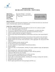 job description: recreation monitor – front desk - City of Wylie
