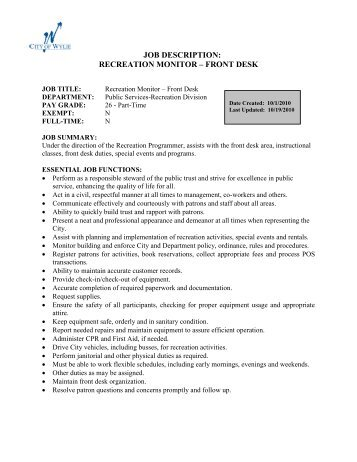 City Of Eureka The Timbers Front Desk Clerk Job Description