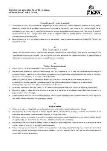 Condiciones generales de venta y entrega de la empresa TIGRA ...