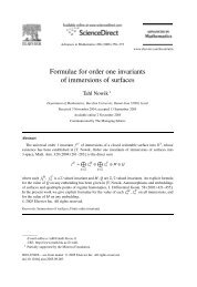 Formulae for order one invariants of immersions of surfaces
