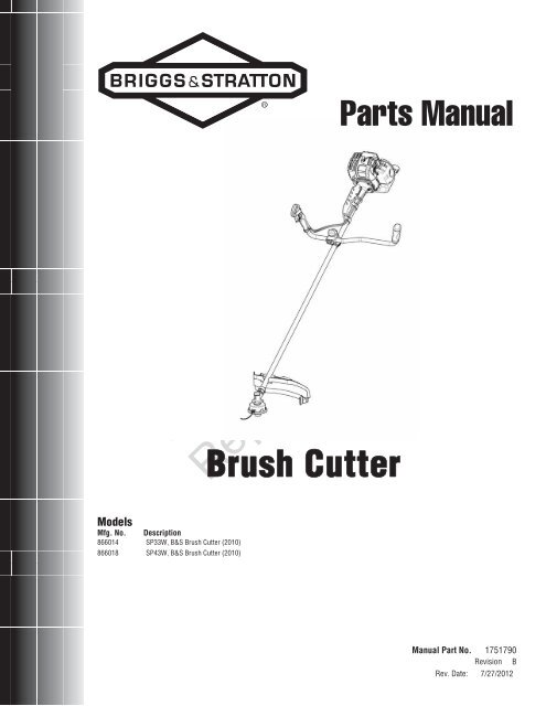 Brush Cutter Parts Manual - Briggs & Stratton