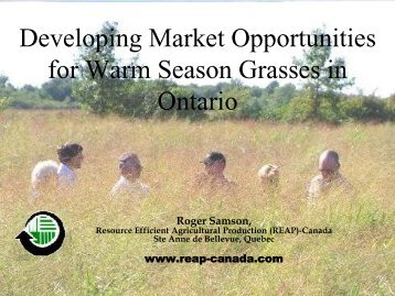 Developing Market Opportunities for Warm ... - Ontario Biomass