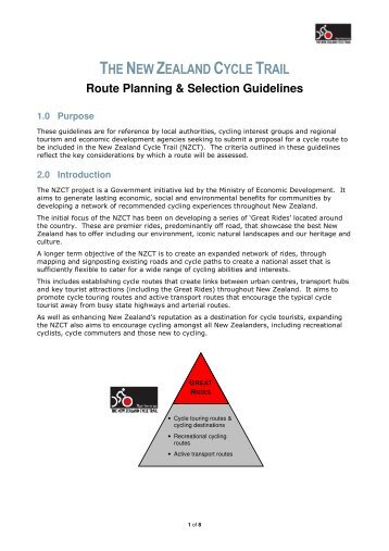 Route Planning & Selection Guidelines - New Zealand Cycle Trail