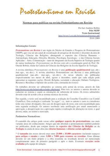 Normas para publicar na revista Protestantismo ... - Faculdades EST