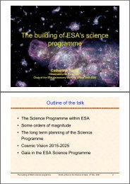 The building of ESA's science programme