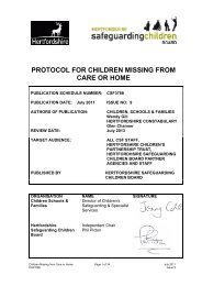 protocol for children missing from care or home - Hertfordshire ...