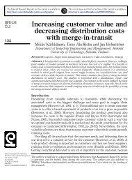 Increasing customer value and decreasing distribution costs ... - LRG
