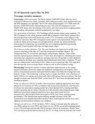TCAP Quarterly report May 30, 2012 Two-page executive summary