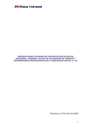 Instrucciones internas contratacion - Mutua Universal.