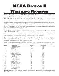 NCAA DivisioN ii WrestliNg rANkiNgs - Wrestling USA Magazine