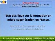Etat des lieux sur la formation en micro-cogénération en France.