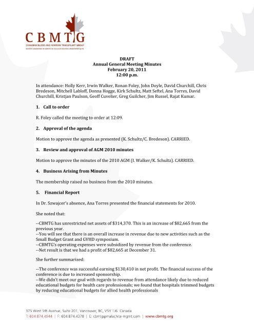 Draft Annual General Meeting Minutes February 20 Cbmtg