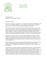 Pastoral Letter from Archbishop Chaput - Archdiocese of Philadelphia