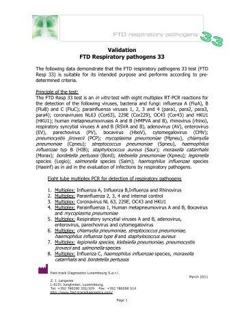 Respiratory pathogens 33 february 2011 version 1 - Mikrogen