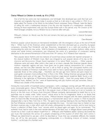 Darius Milhaud: La Création du monde, op. 81a (1923)