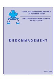 Dédommagement - Canadian Resource Centre for Victims of Crime