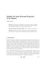 Stability for Some Extremal Properties of the Simplex