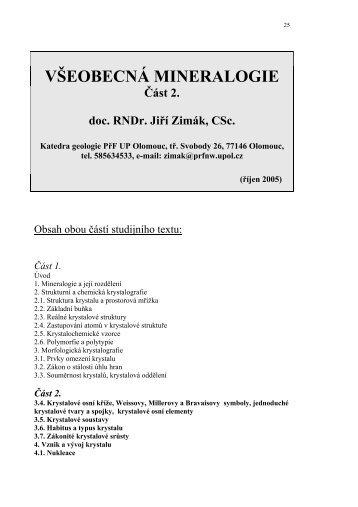 Všeobecná mineralogie – část 2. - Katedra geologie UP