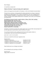 Dear Colleague, we would like to announce the Matheon-Workshop ...