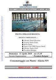 XXXII° Campionato Regionale Libertas 2010 - 4^ prova ... - Imolanuoto