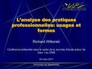 L'analyse des pratiques professionnelles: usage et forme