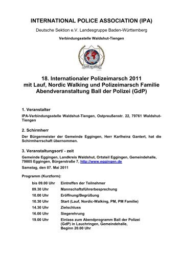 18. Internationaler Polizeimarsch 2011 mit Lauf, Nordic Walking und ...