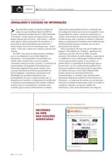 JORNALISMO E EXCESSO DE INFORMAÇÃO sites RECORDES ...