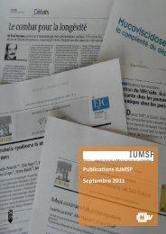 Publications IUMSP Septembre 2011