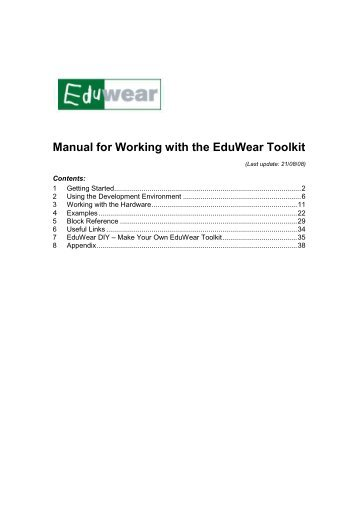 Manual for Working with the EduWear Toolkit - DiMeB