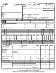 FLORIDA PERSONAL AUTO APPLICATION - ACORD Forms