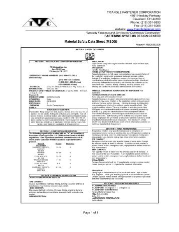 Material Safety Data Sheet (MSDS) - Triangle Fastener