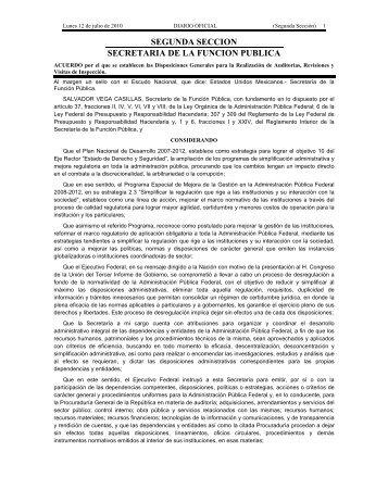 Acuerdo por el que se establecen las Disposiciones Generales para ...