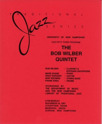 THE BOB WILBER QUINTET - University of New Hampshire