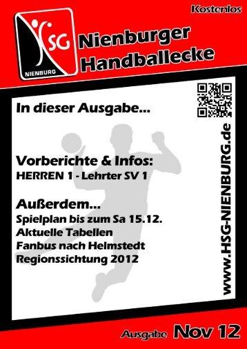 HERREN 1 - Lehrter SV 1 (19.30 Uhr) - HSG Nienburg