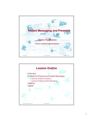 Instant Messaging and Presence Lession Outline